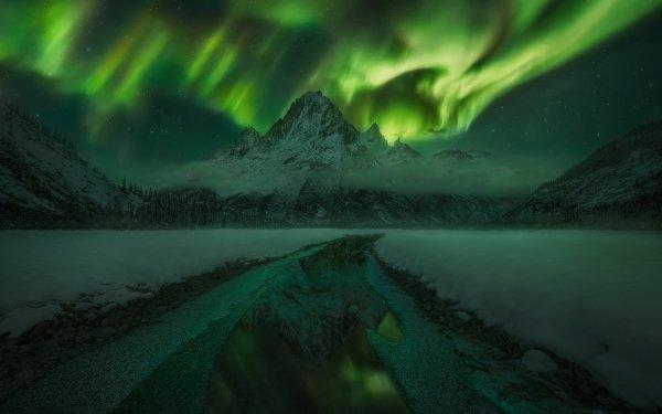 Earth Aurora Borealis Nature Mountain Alaska Landscape Night Ice Sky HD Wallpaper | Background Image