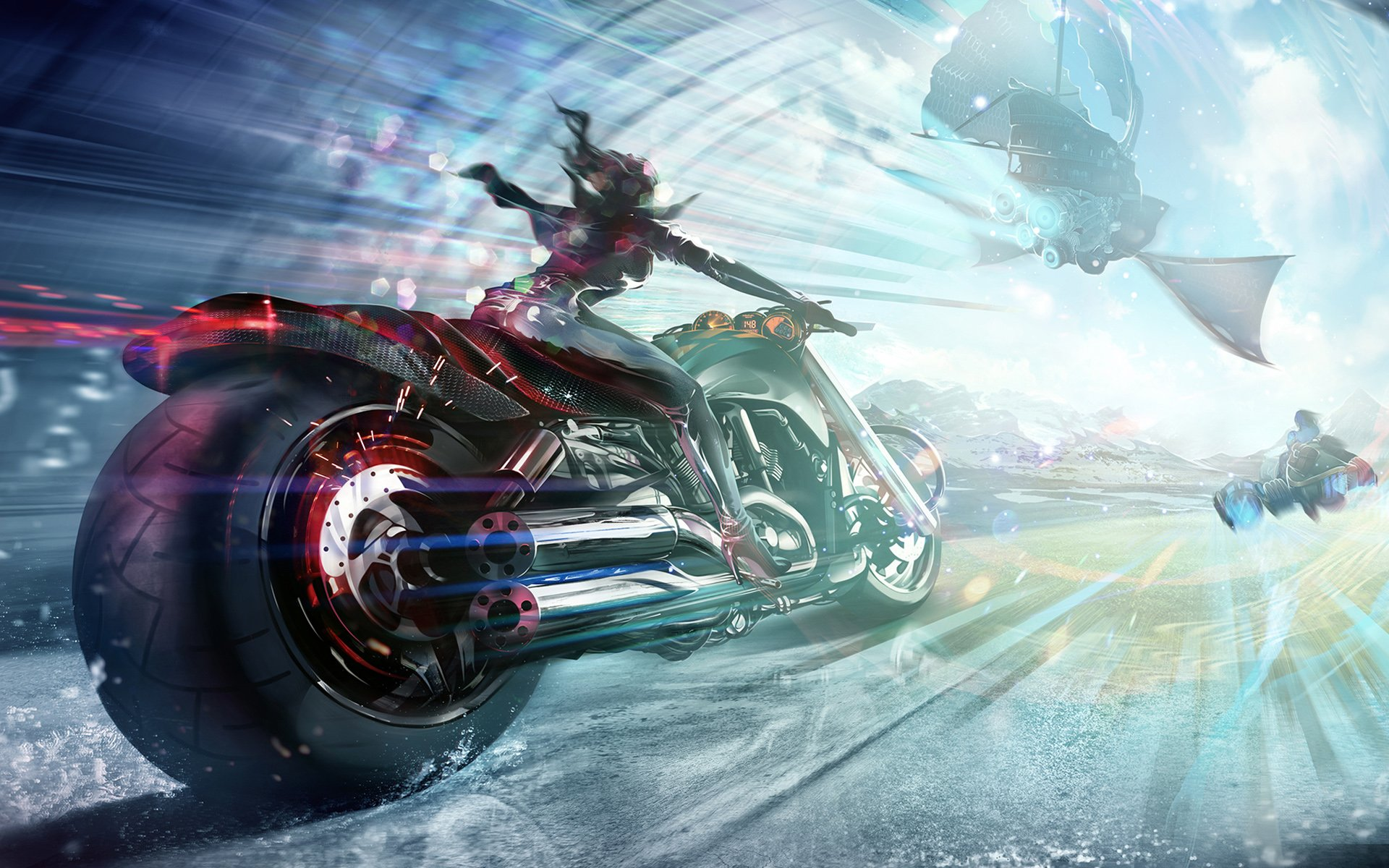 Sci Fi - Vehicle  Woman Sci Fi Motorcycle Race Wallpaper