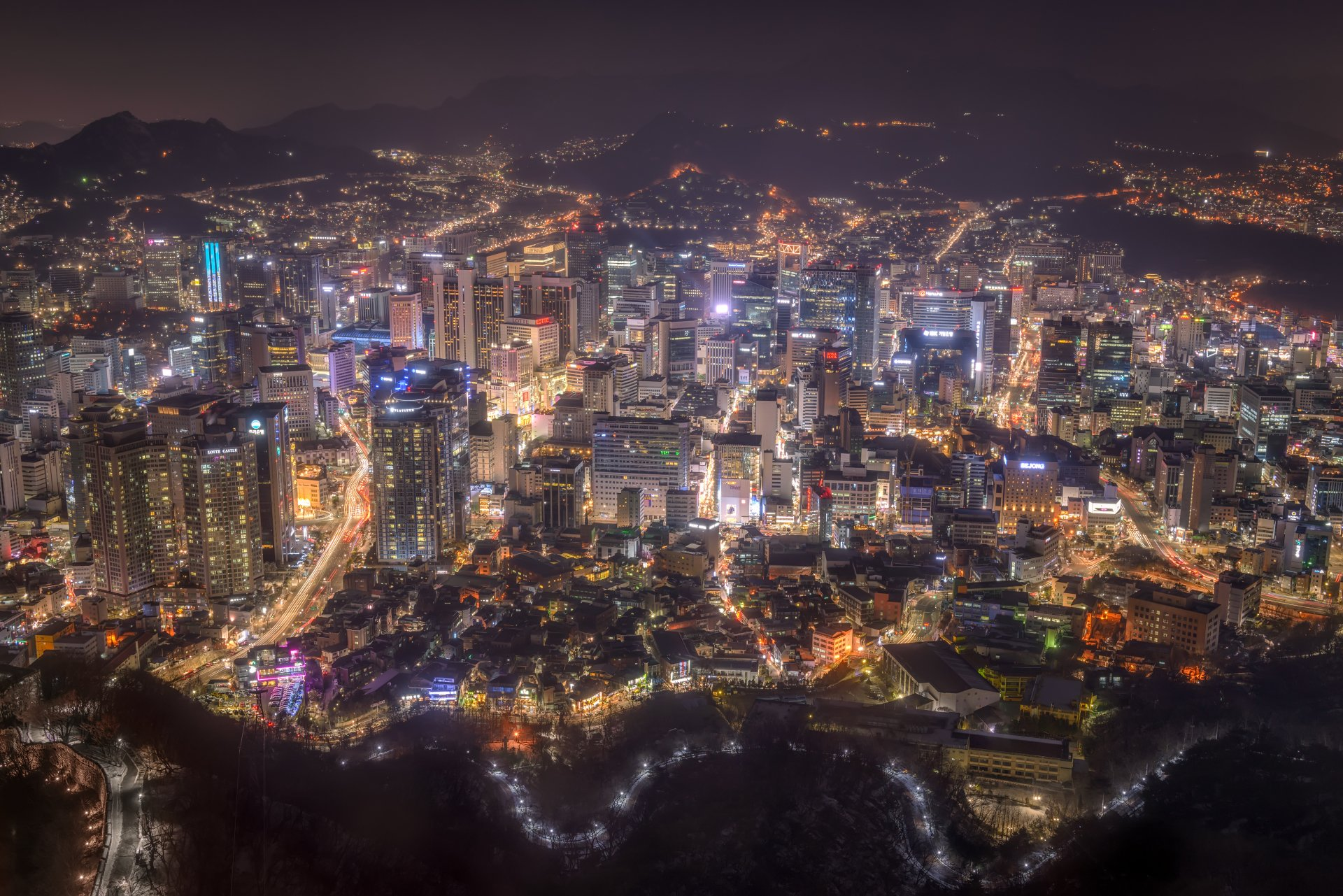 Man Made - Seoul  Cityscape Megapolis Night Korea Wallpaper