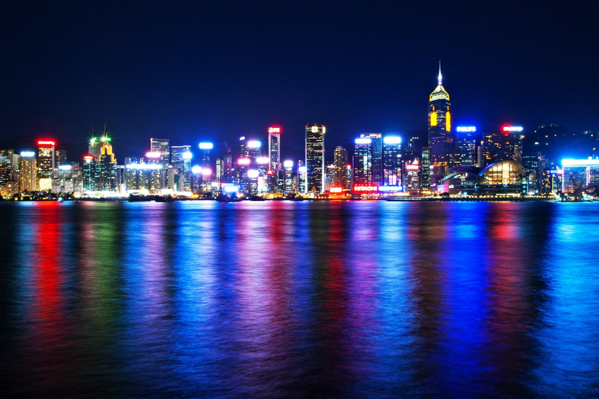 Man Made - Hong Kong  Building Night Skyscraper Ocean Sea Colors Light City Reflection Wallpaper
