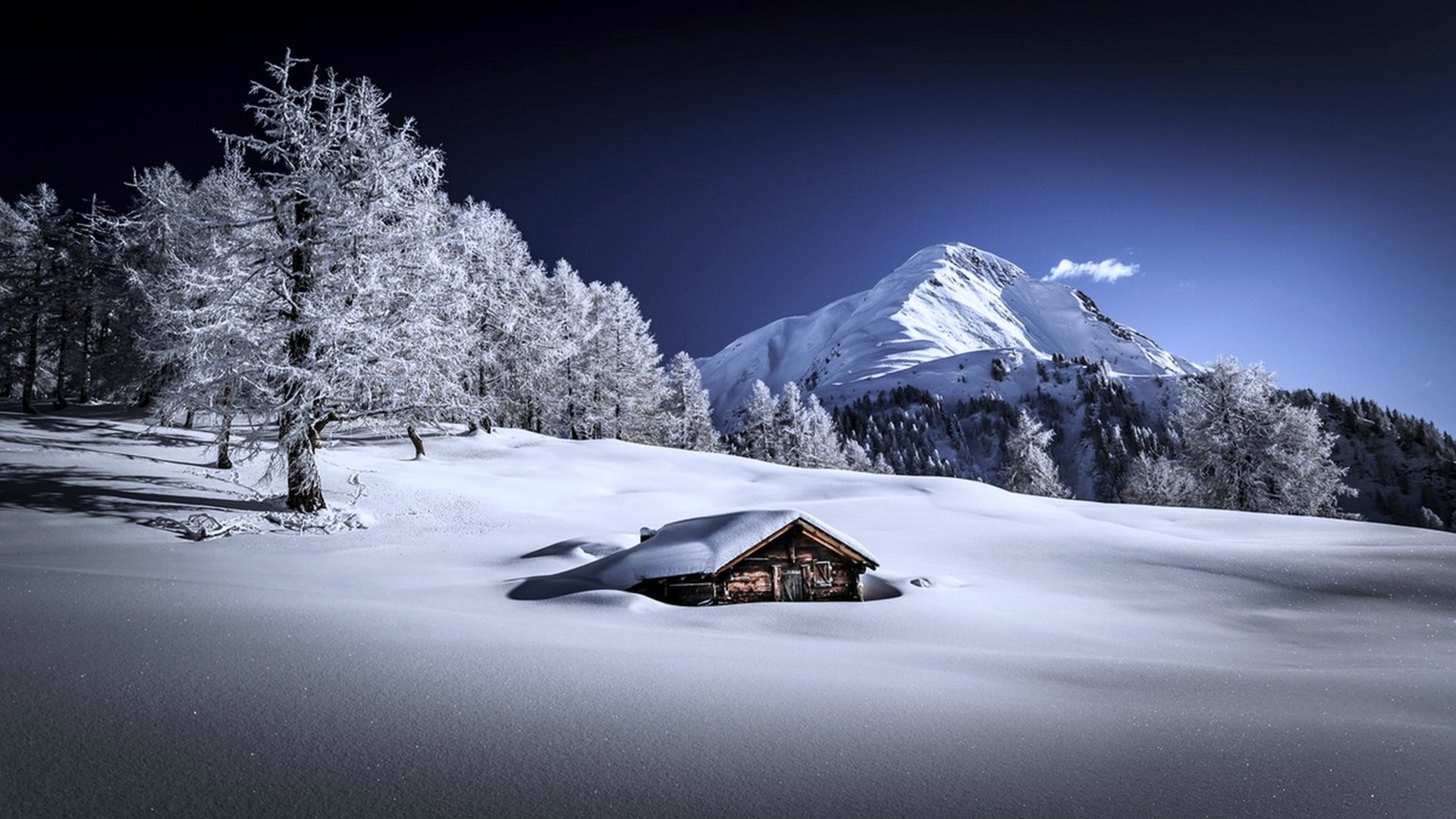 Photography - Winter  House White Snow Mountain Nature Landscape Wallpaper