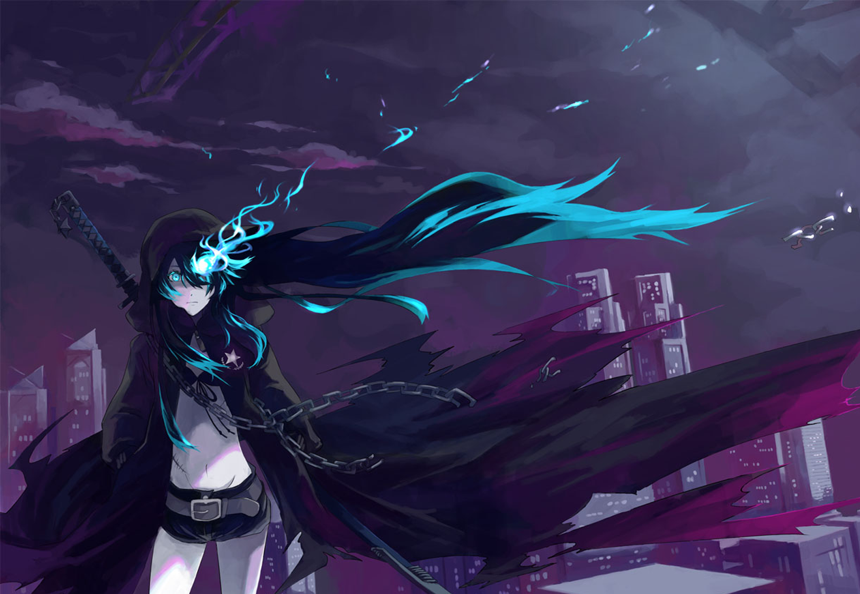 Black rock shooter wallpaper and background image - Blue anime wallpaper ...