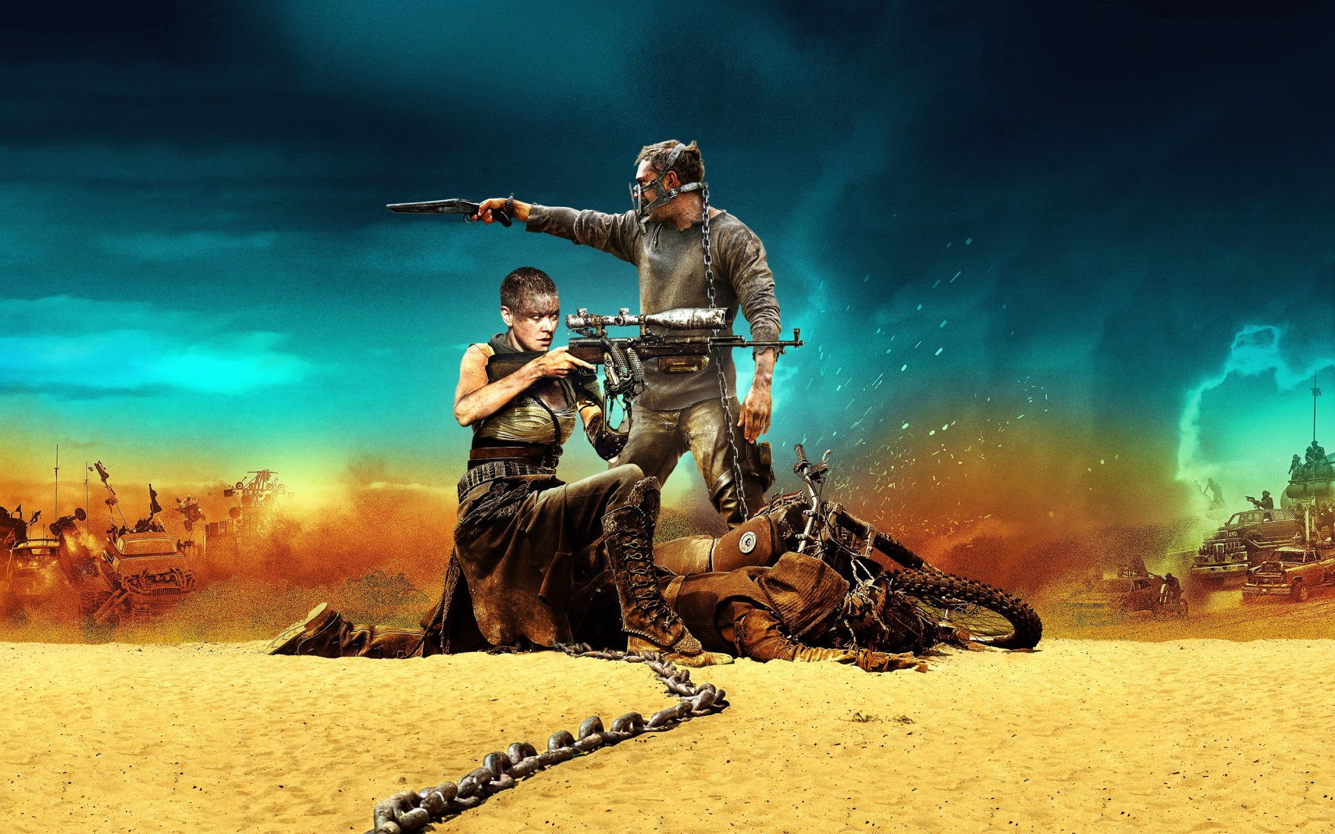 Movie - Mad Max: Fury Road  Imperator Furiosa Charlize Theron Max Rockatansky Tom Hardy Wallpaper