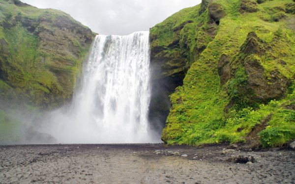 Earth Skógafoss Waterfalls Iceland Waterfall HD Wallpaper | Background Image