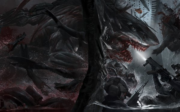 Comics Last Man Standing: Killbook of a Bounty Hunter Shark Battle Dark Brutal Warrior HD Wallpaper | Background Image