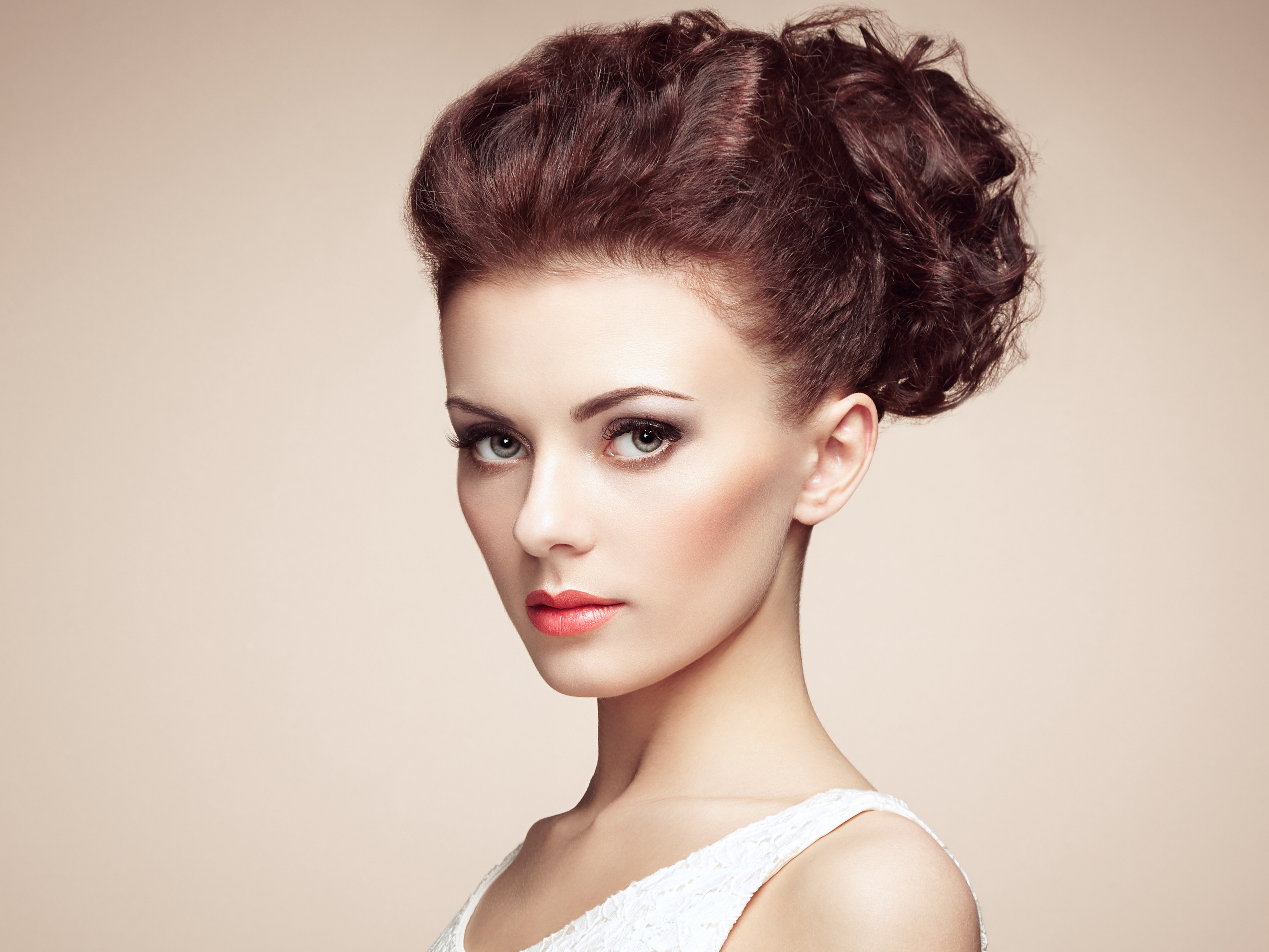 portrait of beautiful sensual woman with elegant hairstyle 8k ultra