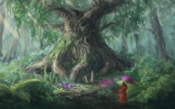 Fantasy Forest Tree Woman Umbrella HD Wallpaper | Background Image