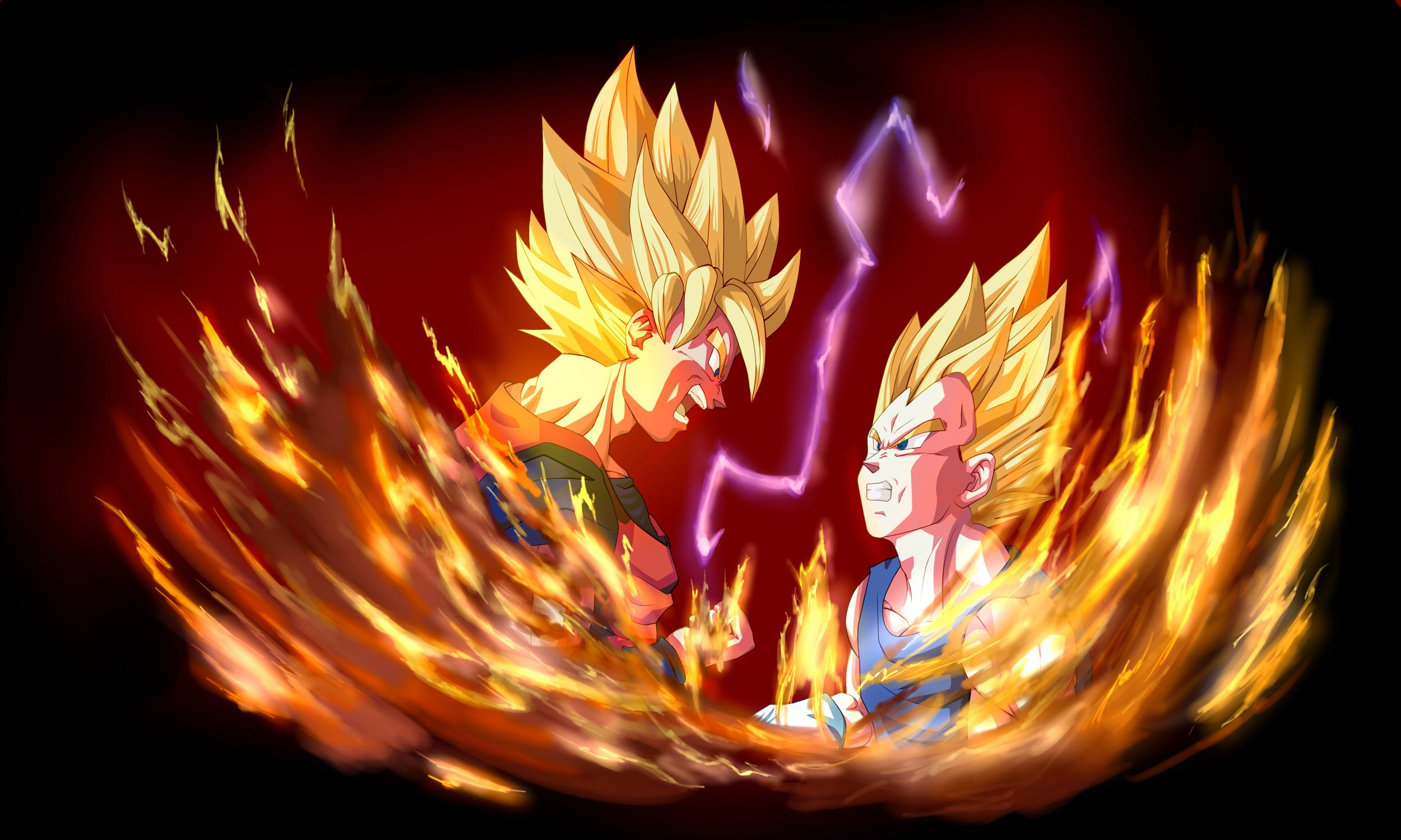 Goku and vegeta fonds d 39 cran arri res plan 2500x1500 for Fond ecran goku