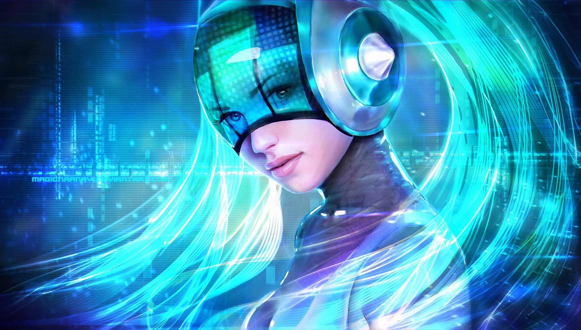 Video Game - League Of Legends  Sona (League Of Legends) Fantasy Woman Girl Blue Hair Futuristic Wallpaper