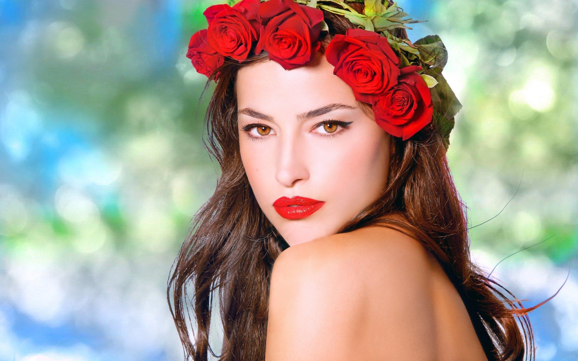 Women - Beautiful  Colorful Face Rose Model Wallpaper