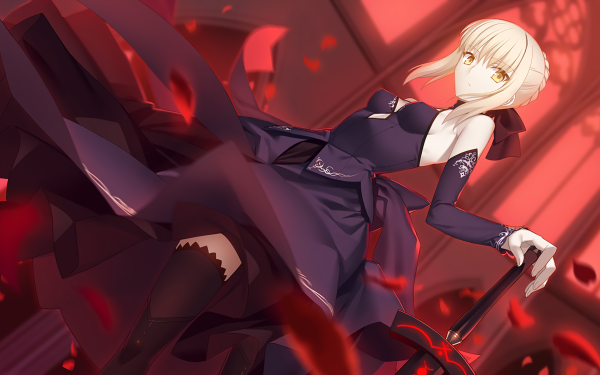 Anime Fate/Stay Night Fate Series Saber Alter Saber Fate Dress Black Dress Boots Thigh Highs HD Wallpaper | Background Image