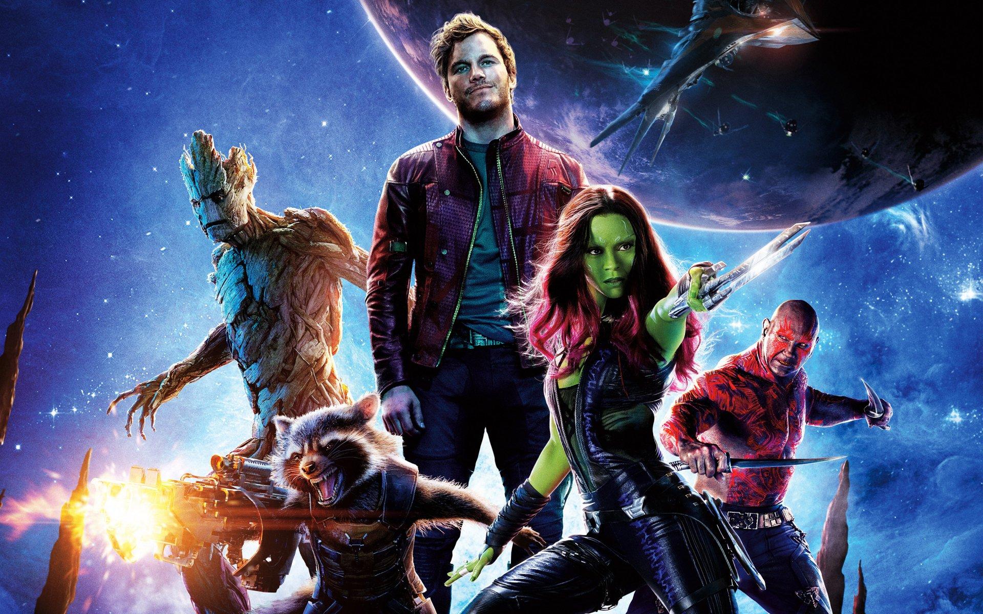 Film - Galaksinin Koruyucuları  Rocket Raccoon Gamora Groot Dave Bautista Drax The Destroyer Chris Pratt Zoe Saldana Peter Quill Duvarkağıdı