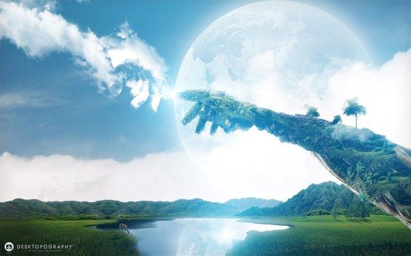 Artistic Desktopography Landscape Hand Grass HD Wallpaper   Background Image