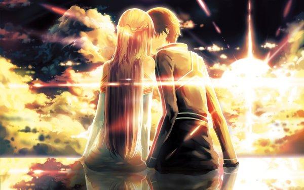 Anime Sword Art Online Kirito Asuna Yuuki Kiss HD Wallpaper | Background Image
