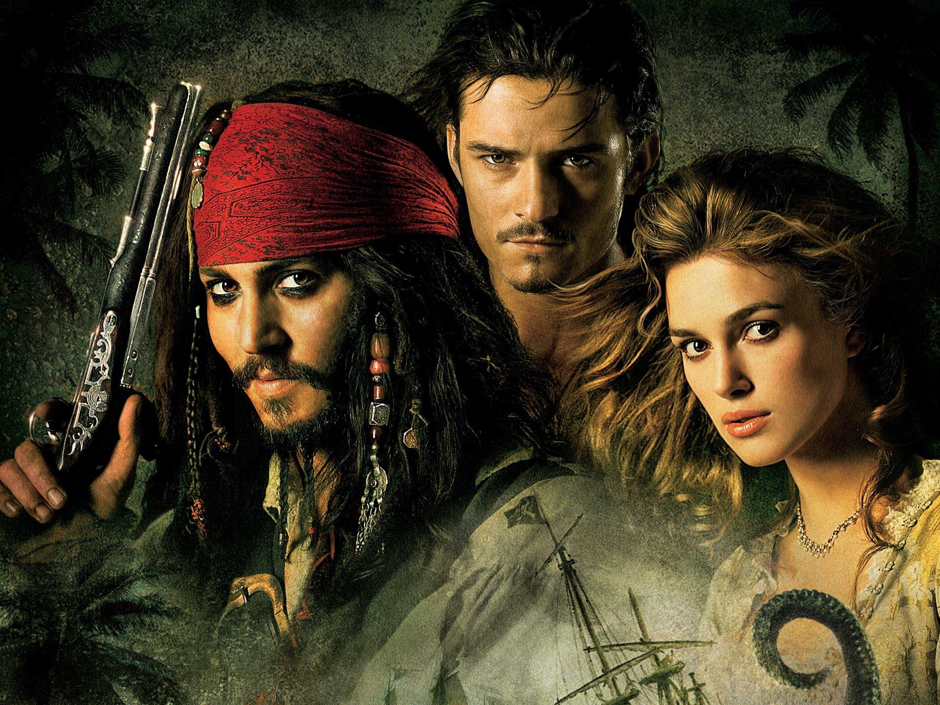 Movie - Pirates Of The Caribbean: Dead Man's Chest  Johnny Depp Jack Sparrow Orlando Bloom Will Turner Keira Knightley Elizabeth Swann Wallpaper