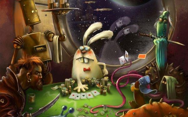Humor Animal Bunny Rabbit Poker HD Wallpaper | Background Image