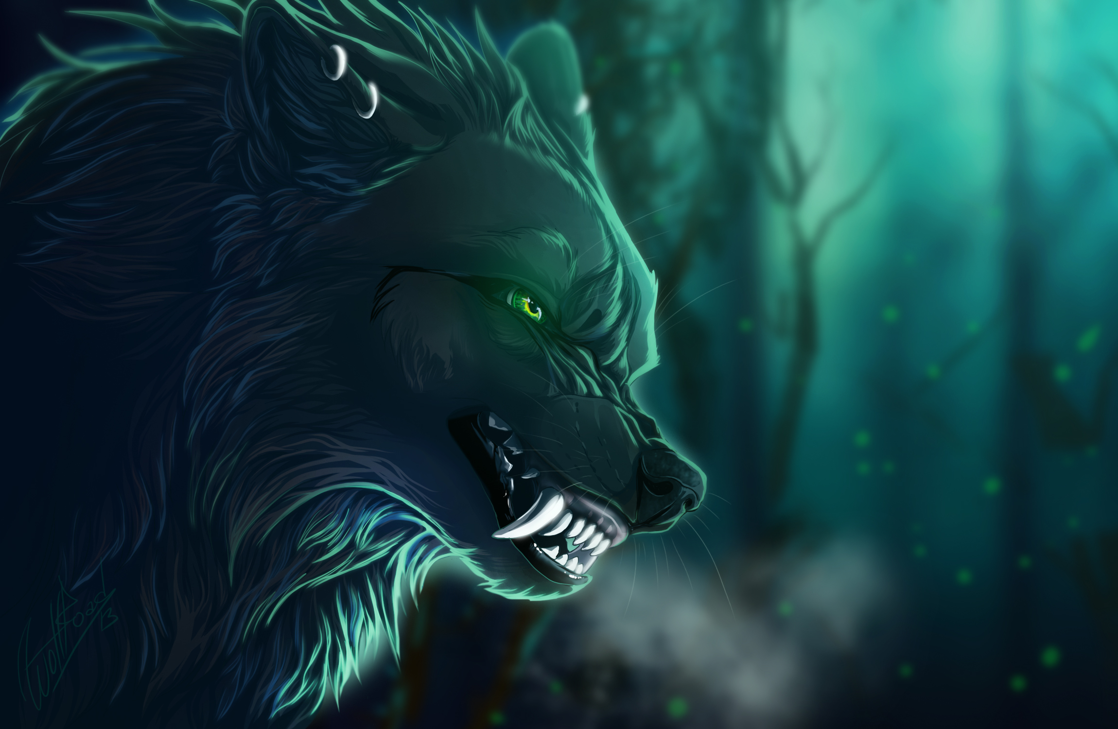 Wolf full hd wallpaper and background image 2300x1500 for Green monster fishing light