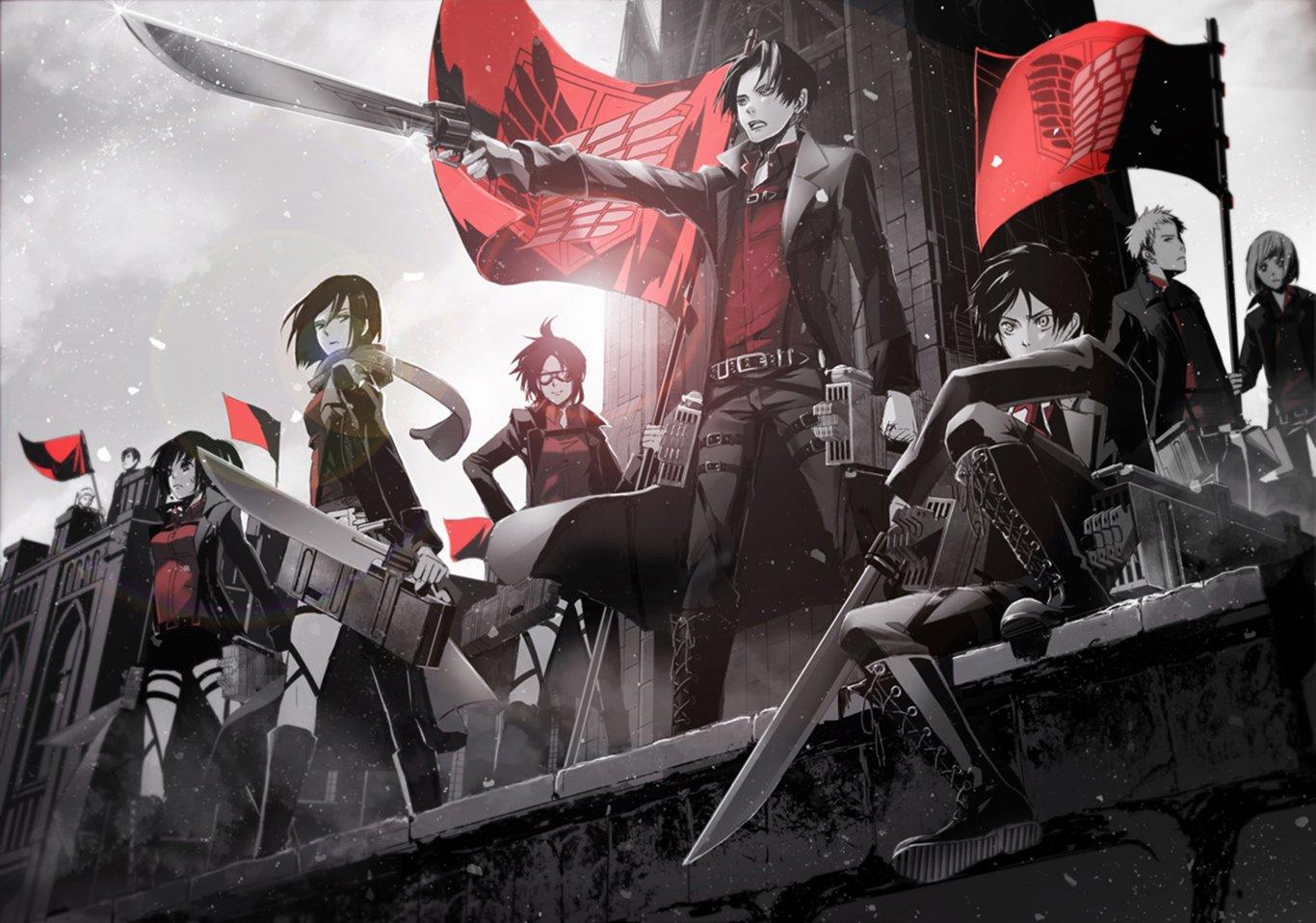 Anime - Attack On Titan  Mikasa Ackerman Eren Yeager Levi Ackerman Hange Zoë Sasha Blouse Petra Ral Jean Kirstein Bertholdt Fubar Armin Arlert Wallpaper