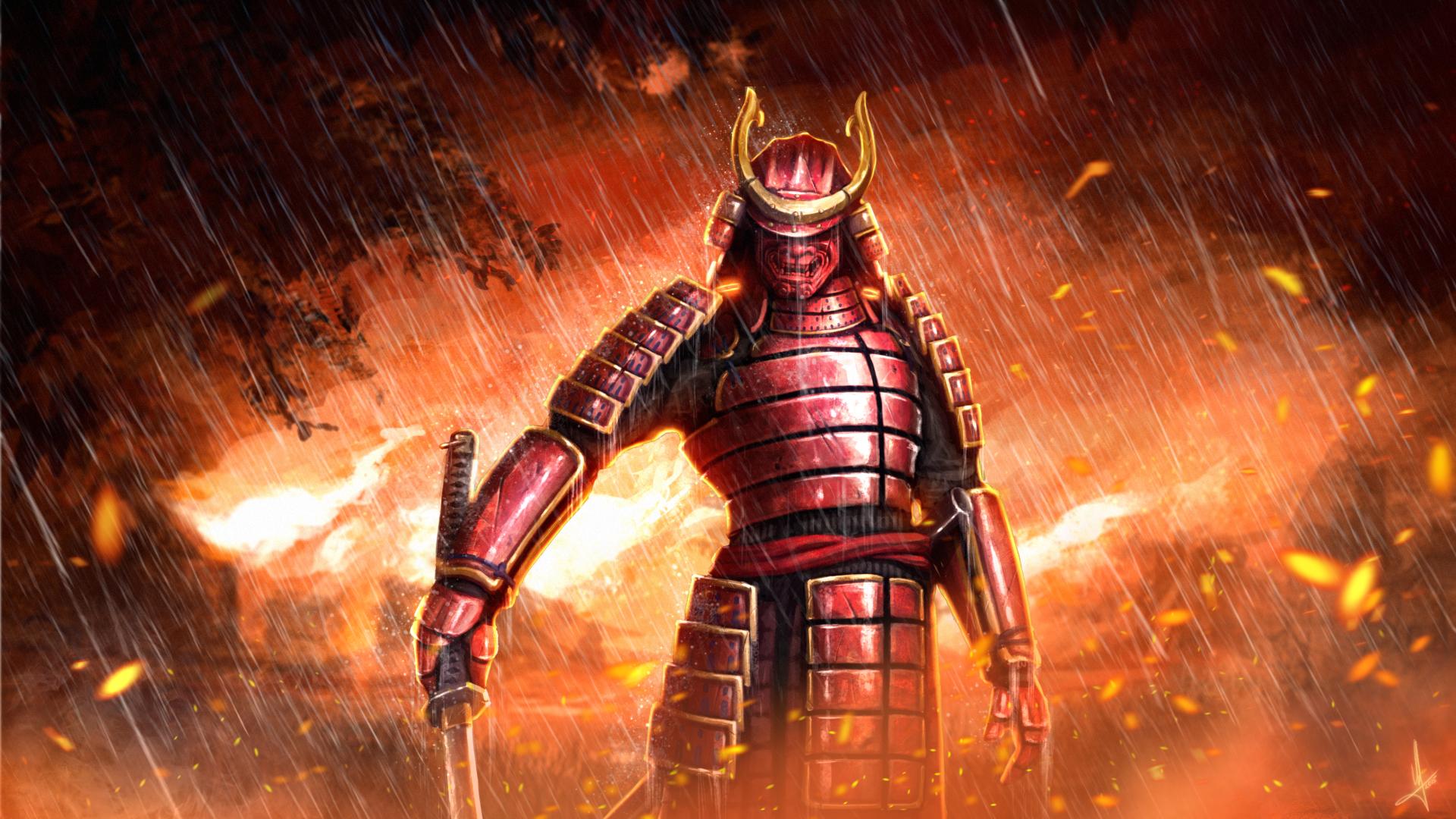 Fantasy - Samurai  Fire Sword Katana Armor Mask Rain Wallpaper