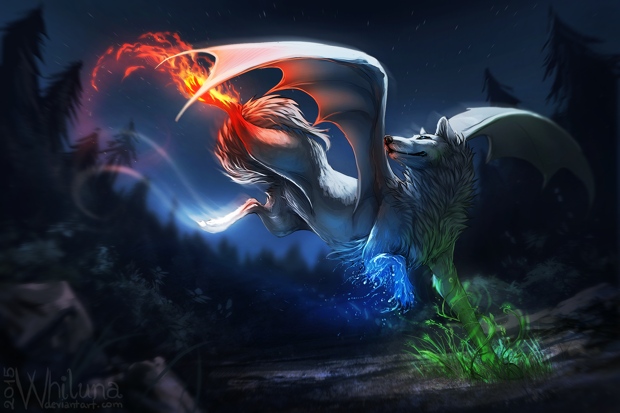 The Four Elements In A Wolf HD Wallpaper