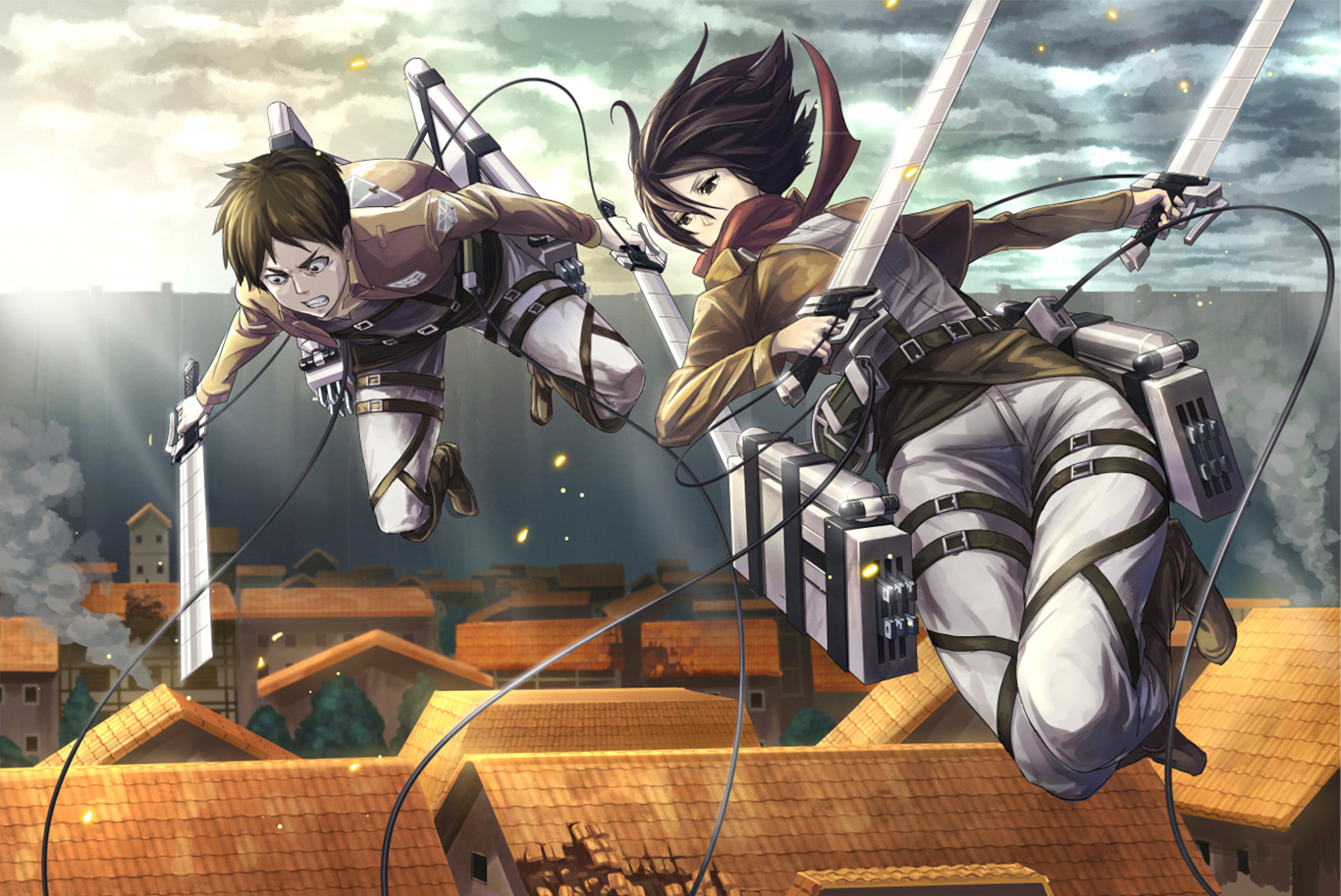 Eren And Mikasa Wallpaper And Background Image 1366x913 Id 653502 Wallpaper Abyss