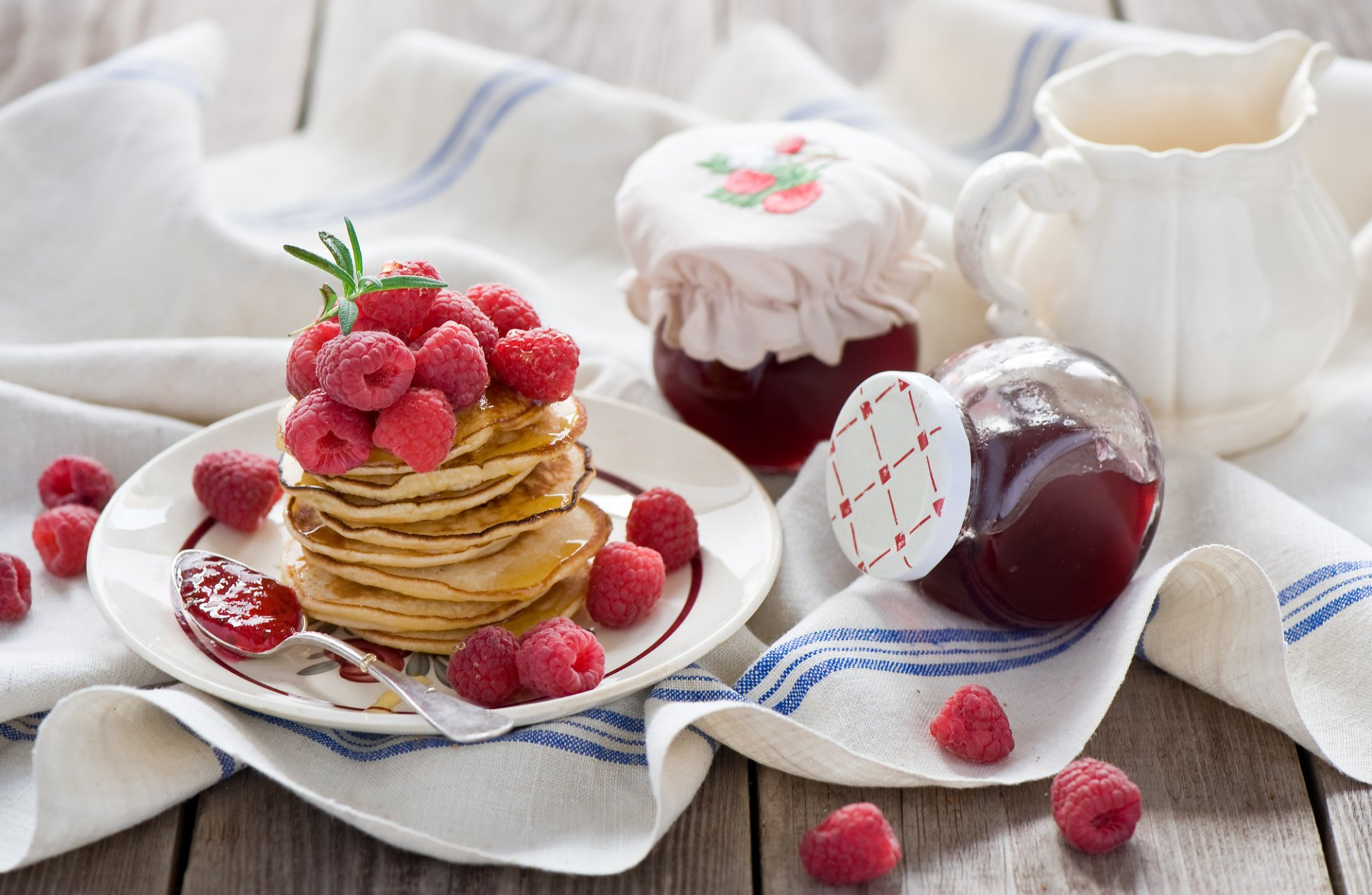 Food - Breakfast  Jam Pancake Raspberry Wallpaper
