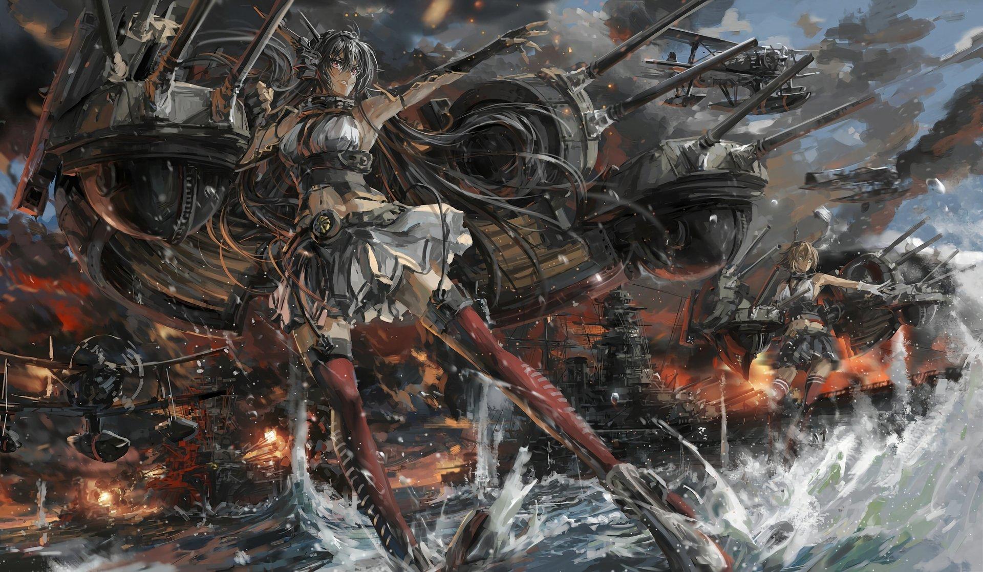 Anime - Kantai Collection  Nagato (Kancolle) Mutsu (Kancolle) Airplane Ship Ocean Wallpaper