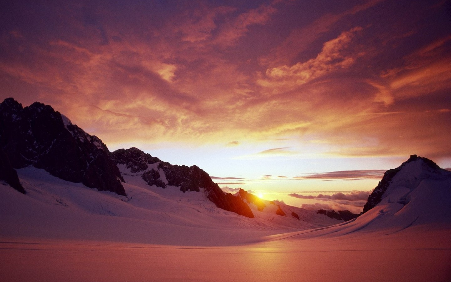 Mountain Snow Sunset Wallpaper And Background Image
