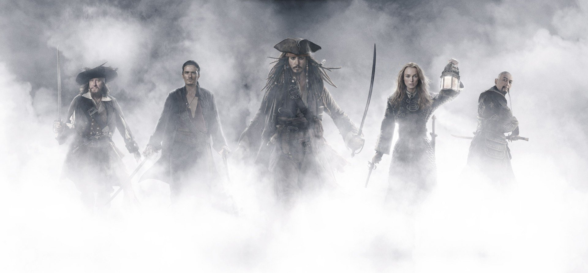 Movie - Pirates Of The Caribbean: At World's End  Geoffrey Rush Hector Barbossa Orlando Bloom Will Turner Keira Knightley Elizabeth Swann Chow Yun-Fat Captain Sao Feng Jack Sparrow Johnny Depp Wallpaper