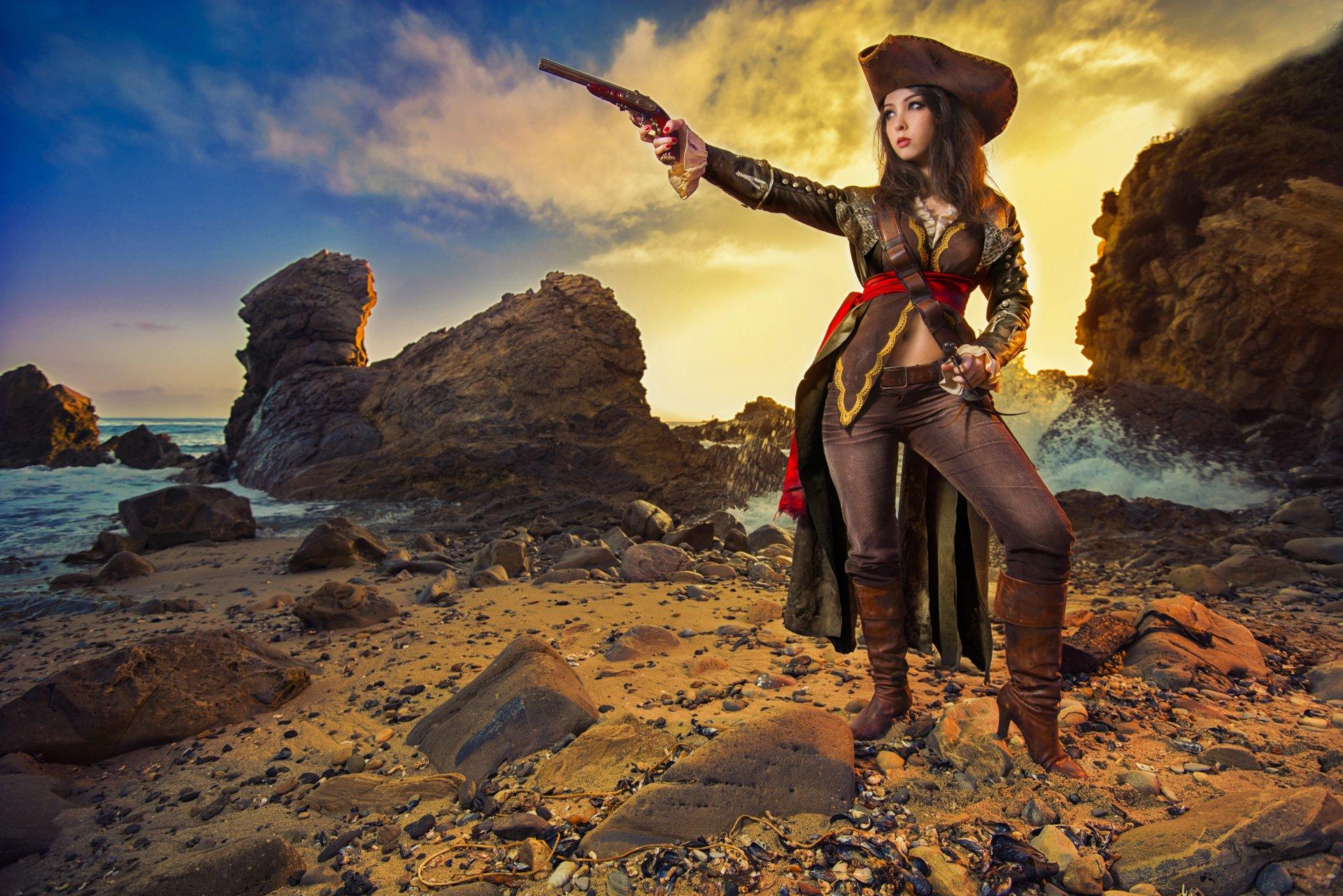 Mulheres - Cosplay  Pirata Papel de Parede