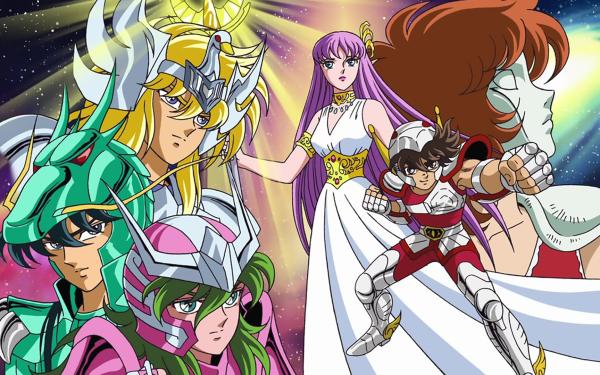 Anime Saint Seiya Pegasus Seiya Dragon Shiryu Cygnus Hyoga Andromeda Shun Athena HD Wallpaper | Background Image
