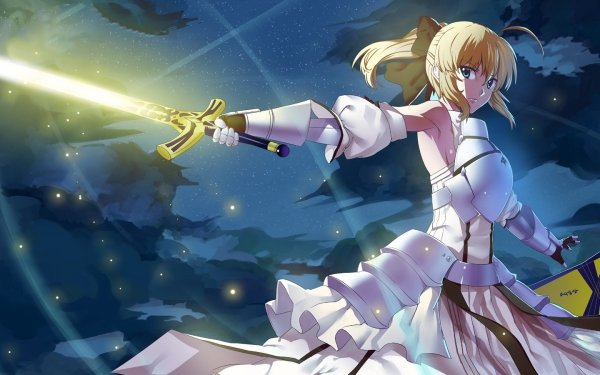 Anime Fate/Stay Night Fate Series Saber Lily White Dress Short Hair Green Eyes Excalibur Blonde HD Wallpaper | Background Image