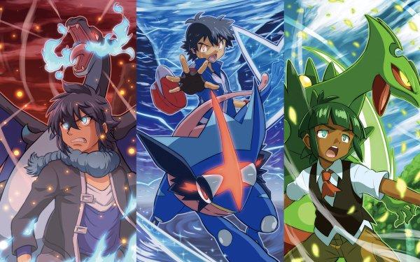 Anime Pokémon Mega Charizard X Greninja Mega Sceptile Ash Ketchum Alain Fond d'écran HD | Arrière-Plan