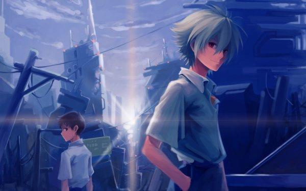 Anime Neon Genesis Evangelion Evangelion Shinji Ikari Kaworu Nagisa Red Eyes Black Hair White Hair Amanecer Fondo de pantalla HD | Fondo de Escritorio