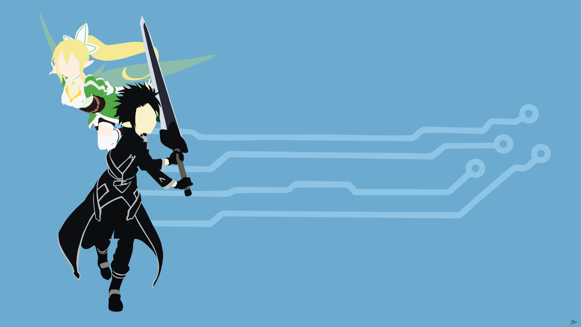 Kirito and leafa full hd wallpaper and background for Minimal art online