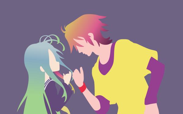 Anime No Game No Life Sora Shiro Purple Dress Blue Hair Green Hair Pink Hair Orange Hair Two-Toned Hair Long Hair Minimalist HD Wallpaper | Background Image