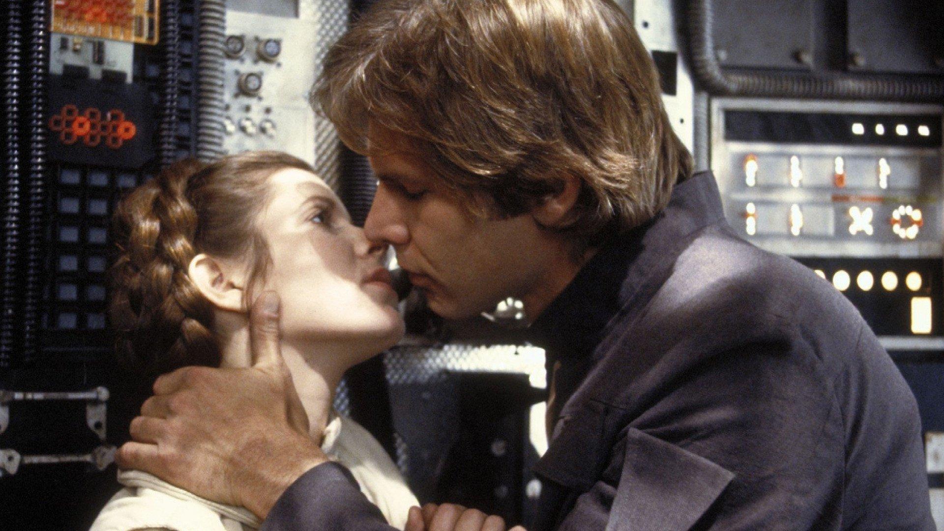 电影 - 星球大战2:帝国反击战  Han Solo Princess Leia Harrison Ford Carrie Fisher 壁纸