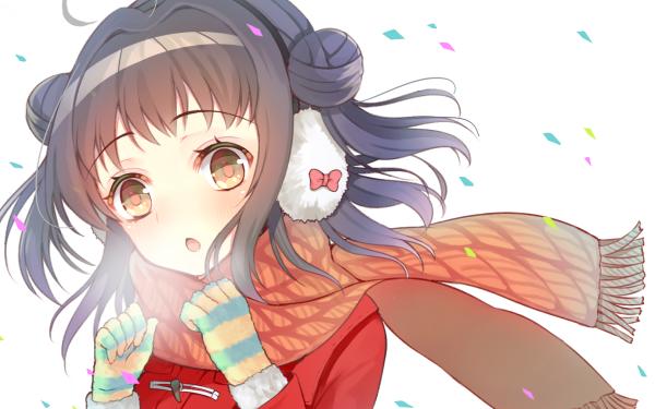 Anime Kantai Collection Naka Short Hair Scarf Glove Headphones Blush Winter Purple Hair HD Wallpaper   Background Image