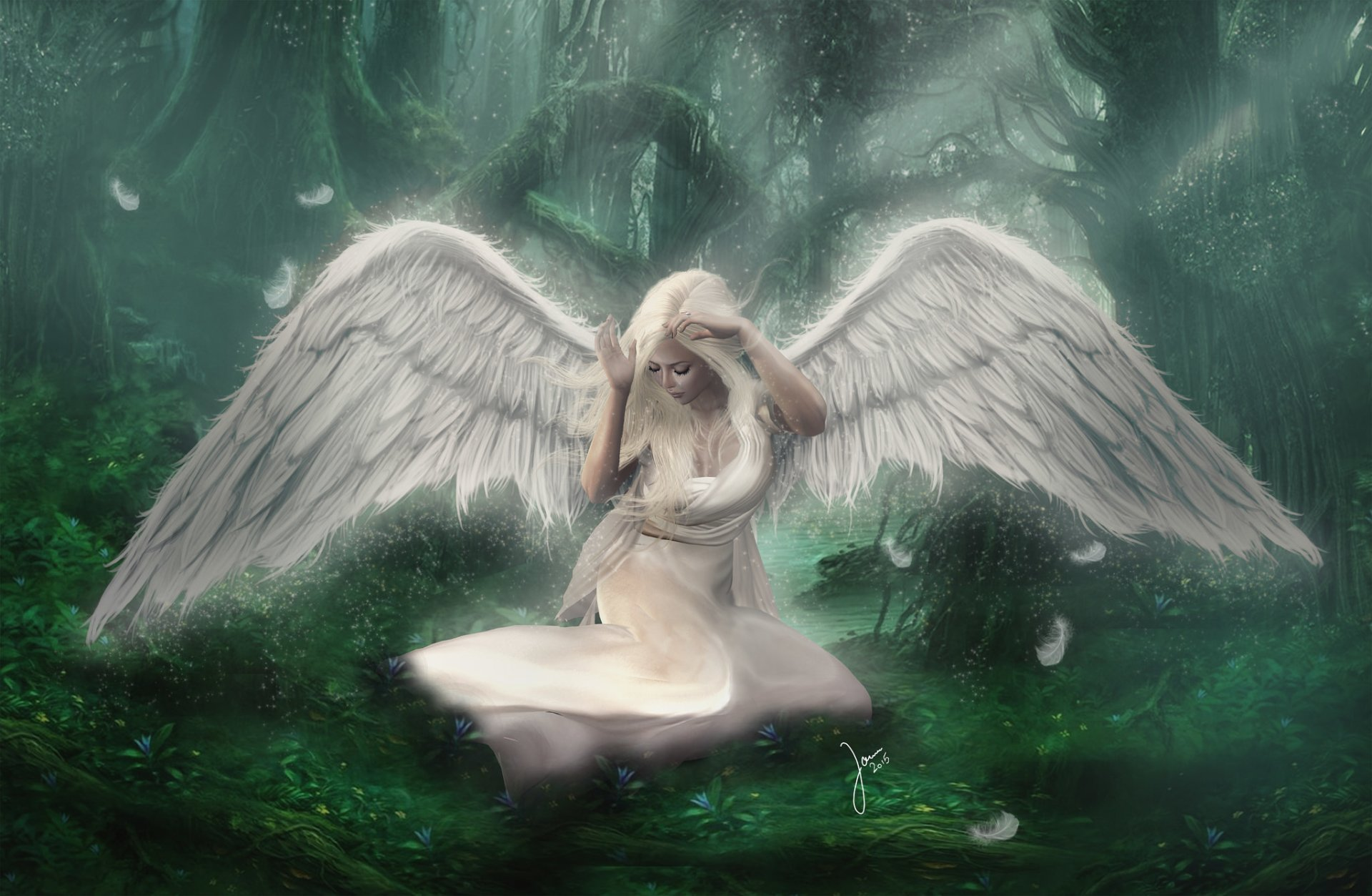 White angel in forest hd wallpaper background image 2048x1336 id 676865 wallpaper abyss - Sad angel wallpaper ...
