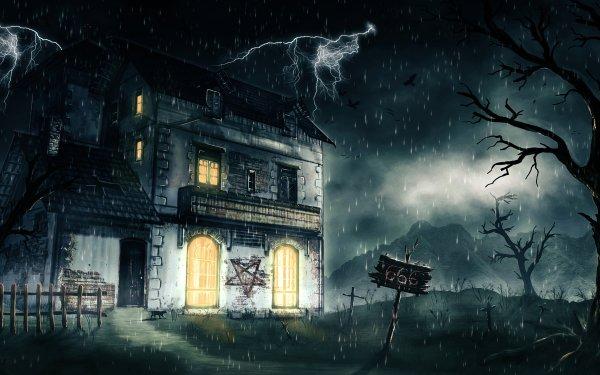 Dark House Night Lightning Pentagram Rain HD Wallpaper | Background Image