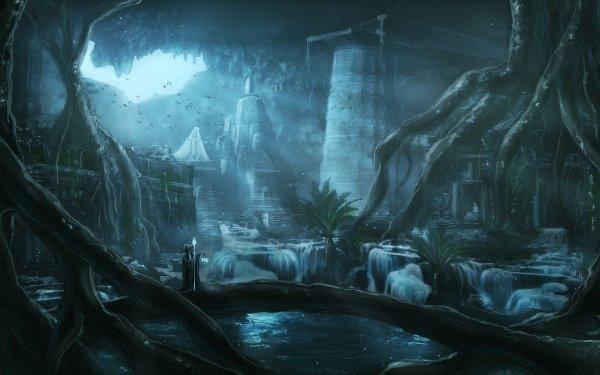 Fantaisie Ruine Magicien Underground Rayon de Soleil Fond d'écran HD | Arrière-Plan