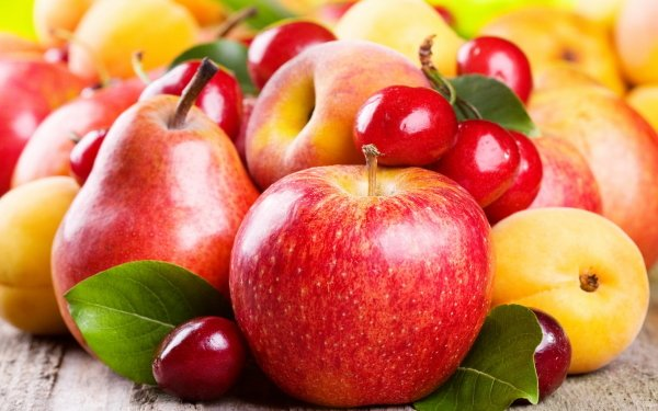Food Fruit Fruits Apple Pear Apricot Cherry HD Wallpaper | Background Image