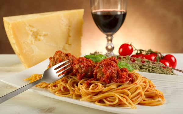 Food Meatball Pasta Wine Tomato Cheese Meal HD Wallpaper | Background Image