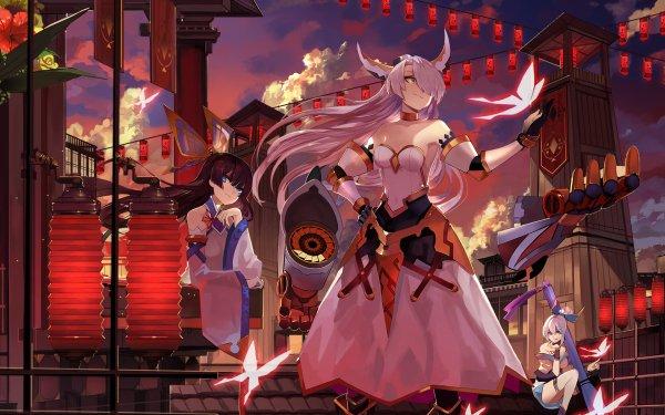 Anime Sangai Senki Long Hair White Hair Black Hair Armor Blue Eyes Butterfly Japanese Clothes Headdress Smile Brush HD Wallpaper | Background Image