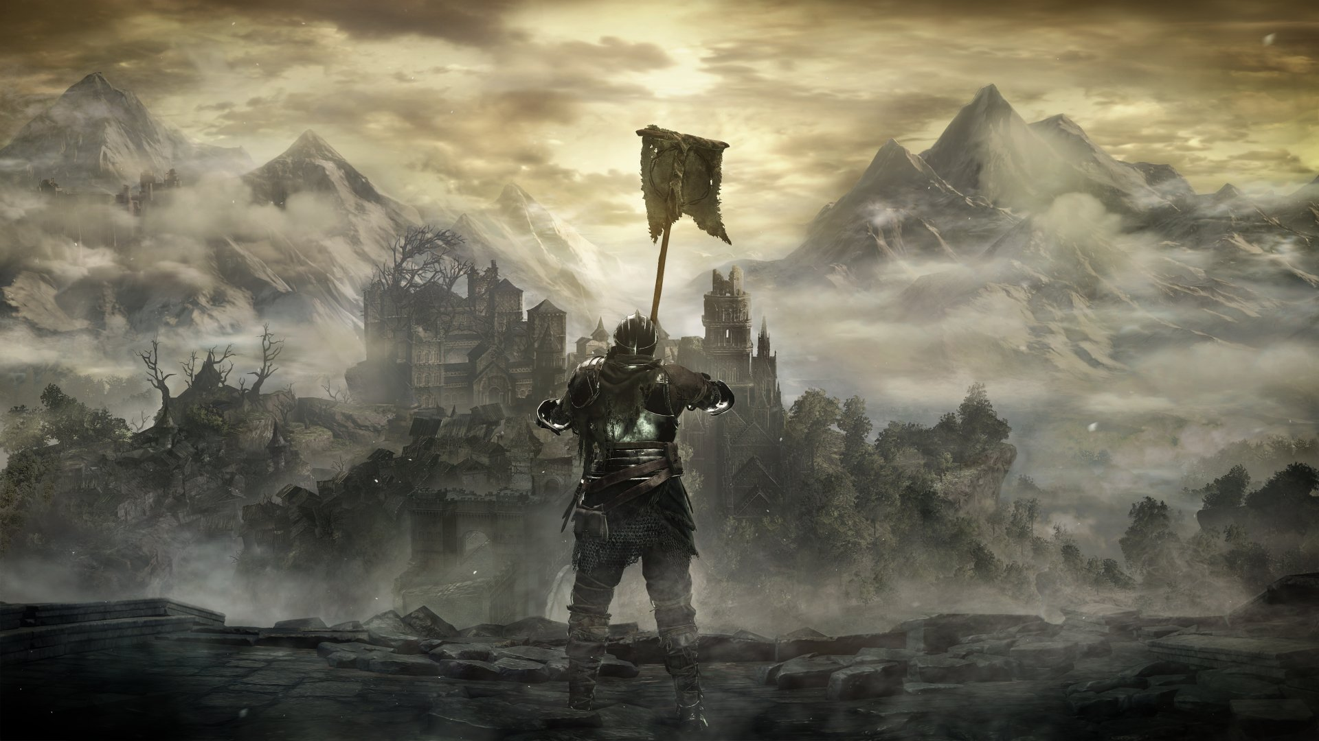 电子游戏 - 黑暗之魂3  骑士 Armor 山 城堡 风景 壁纸