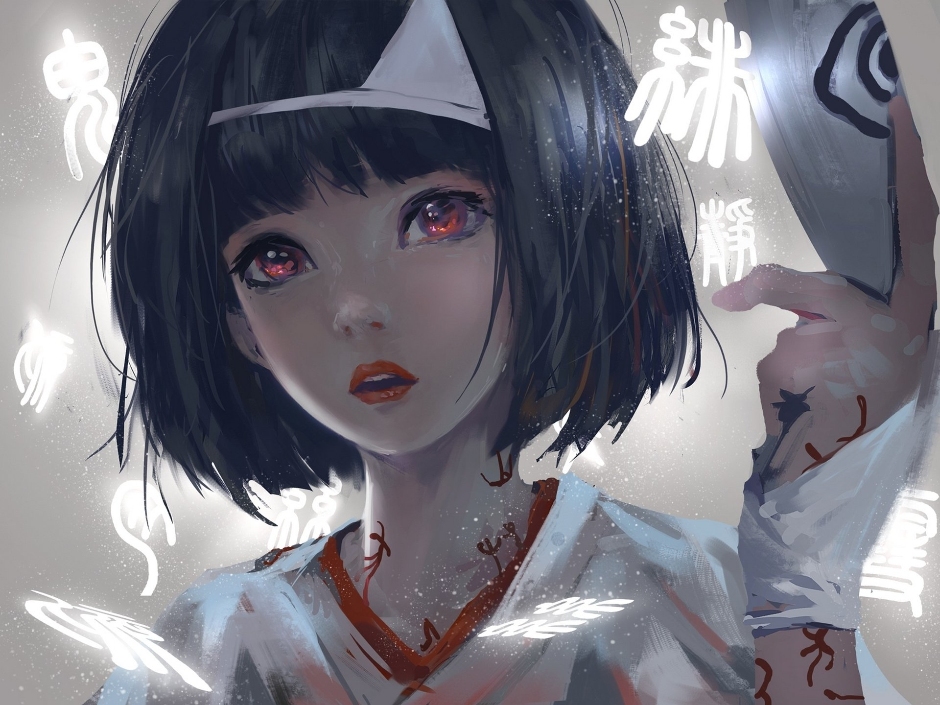 动漫 - 野良神  Nora (Noragami) 女孩 Short Hair Black Hair Red Eyes 壁纸