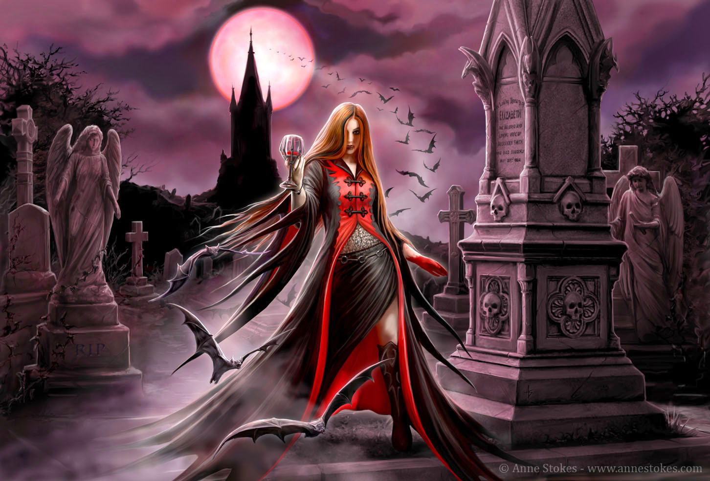 Vampire in Gothic Cemetery on Full Moon Night Fond décran and