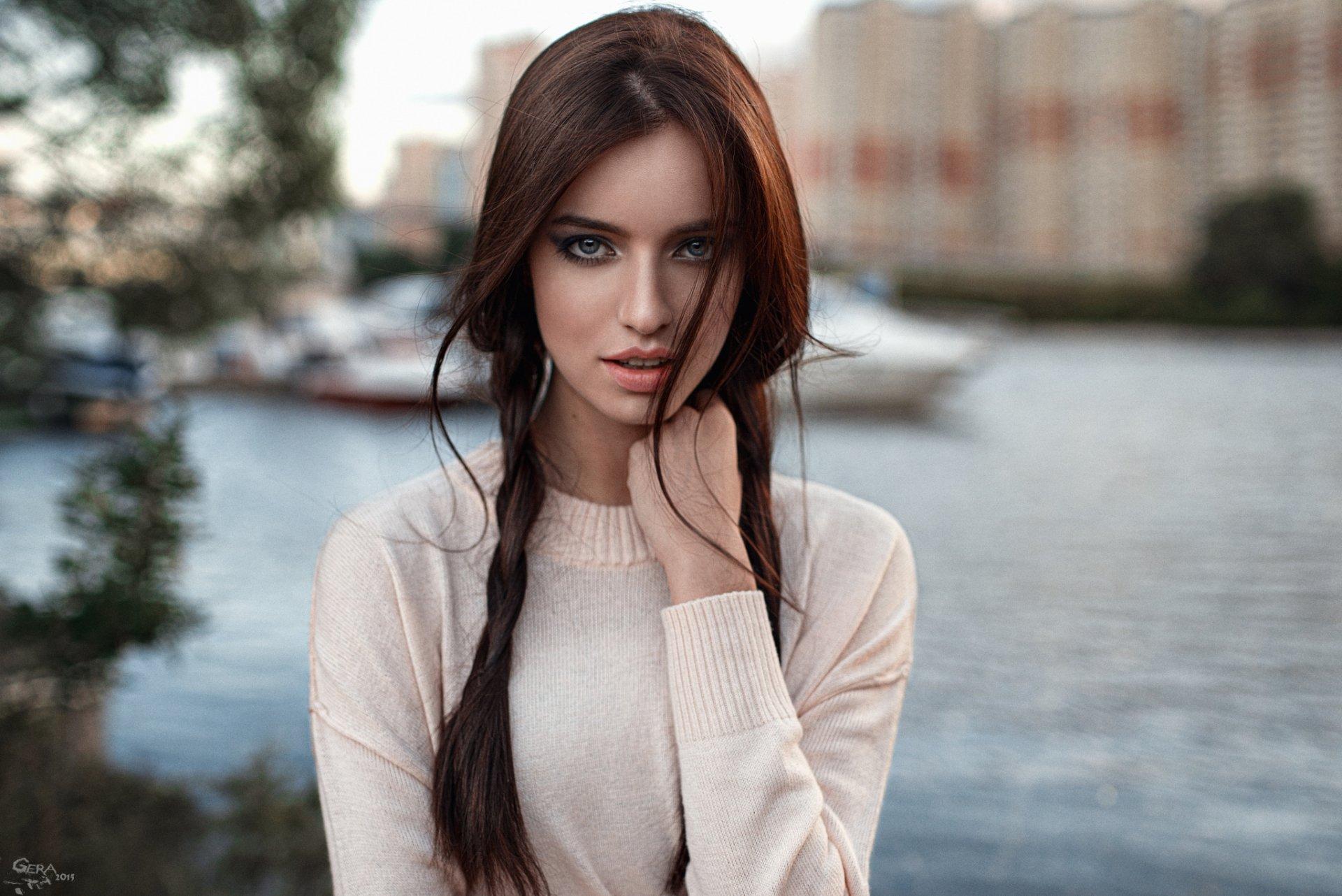 Women - Model  Woman Blue Eyes Brunette Braid Bokeh Outdoor Girl Wallpaper
