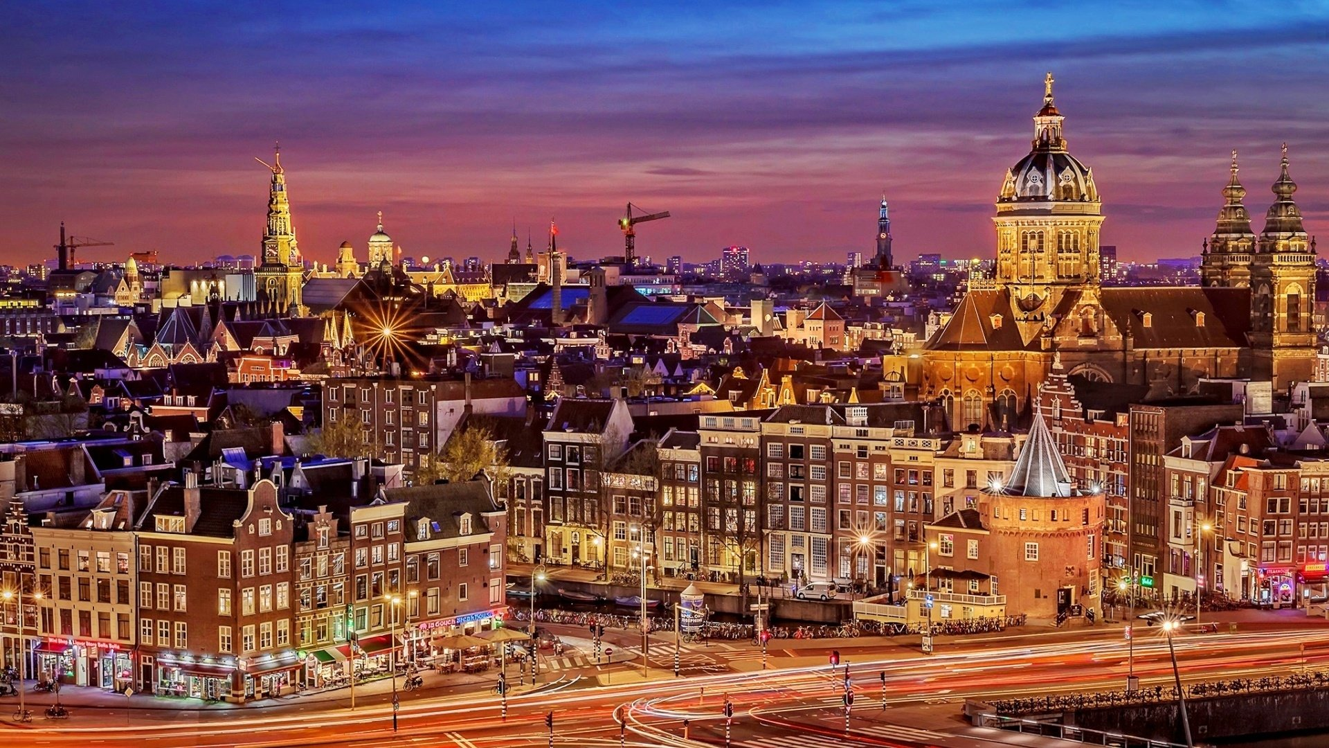 Man Made - Amsterdam  Man Made Cityscape City Night Building Architecture Wallpaper