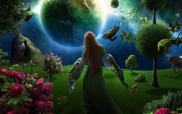 Fantasy Women Flower Landscape Plant Turtle Elephant Planet HD Wallpaper   Background Image